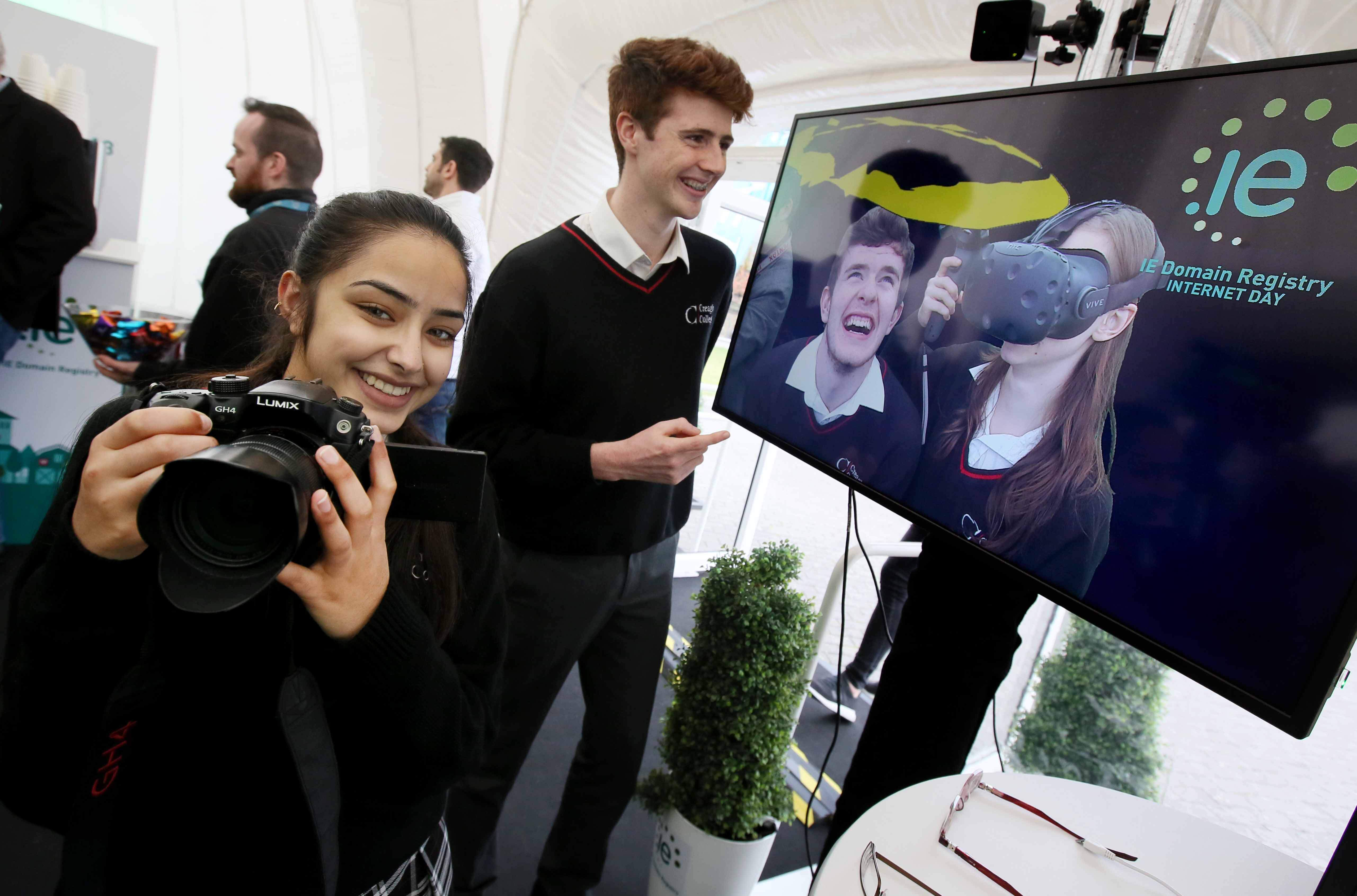 Students from Creagh College check out the mixed reality experience in the .IE Digital Dome.