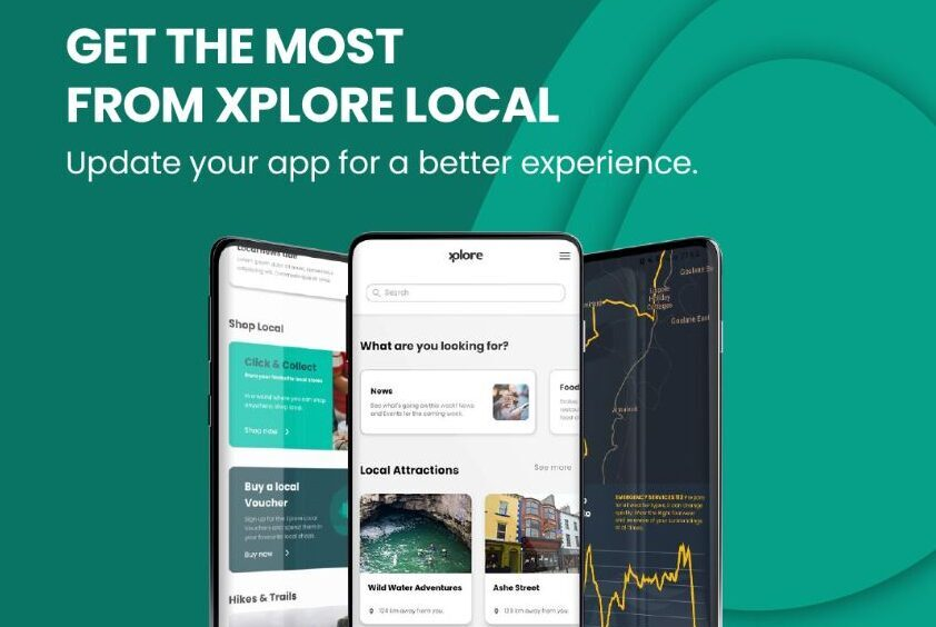 Xplore app advert .IE Digital Town Awards Winners and Runners-up